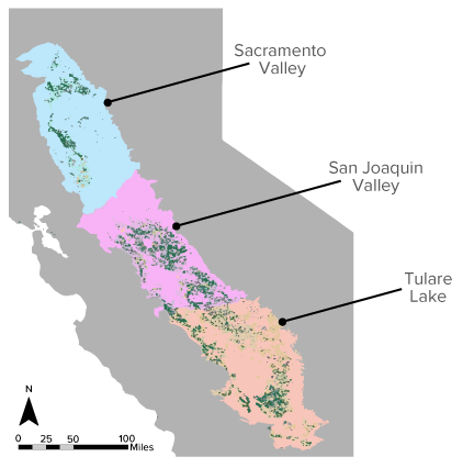 Map of key almond production regions investigated in the life cycle assessment